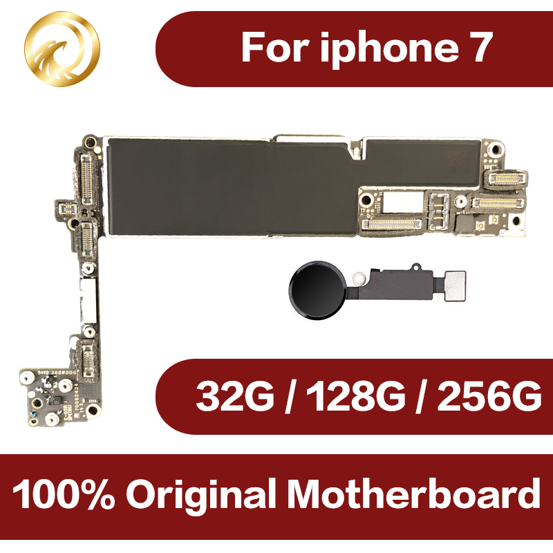 Оригинальный разблокирована для iphone 7 материнской платы с Touch ID, для iphone 7 мобильного телефона материнская плата с чипами, 32 ГБ/128 ГБ/256 ГБ