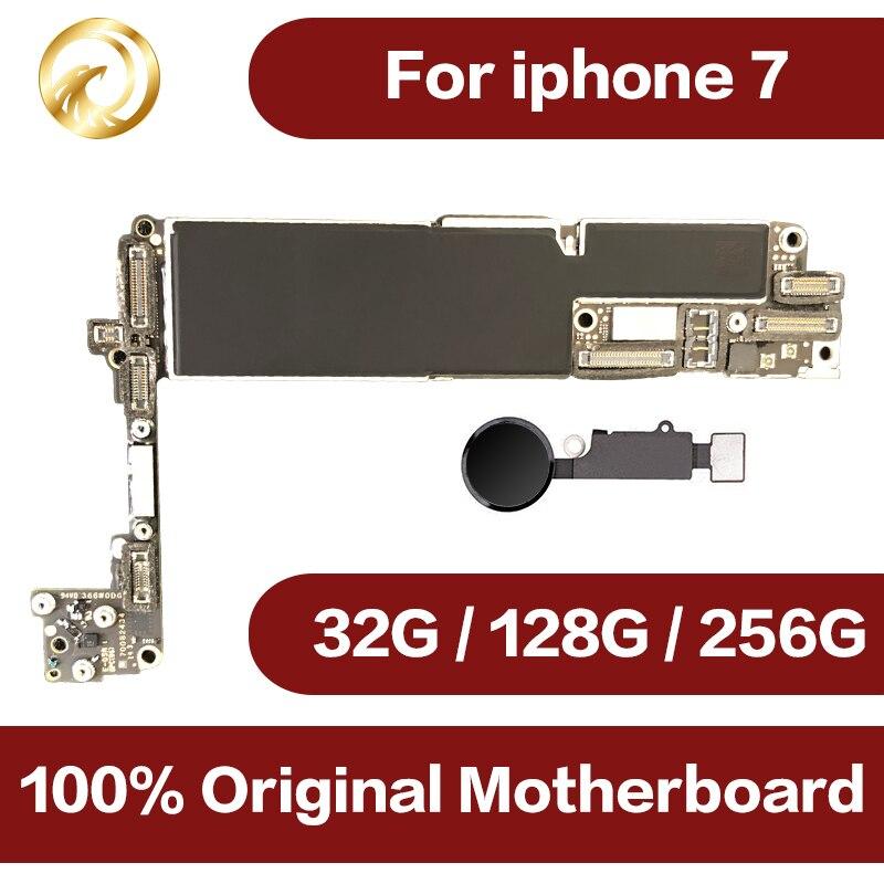 Débloqué Original pour iphone 7 Carte Mère avec Tactile ID, pour iphone 7 Mobile téléphone carte mère avec Puces, 32 gb/128 gb/256 gb