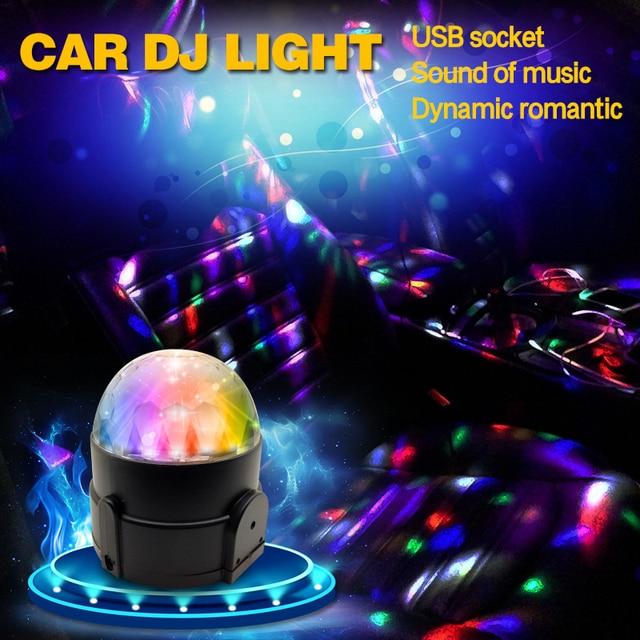 Car LED Music decorate Lights DJ Mini RGB 18w LED MP3 Club Disco Party Magic Ball Stage Effect Rotating Bulb With USB Interface