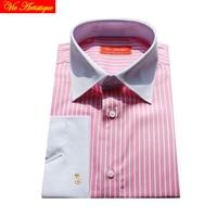 Men S Dress Shirt Men Business Striped Shirt French Casual Slim Fit Long Sleeve Oversize Blue
