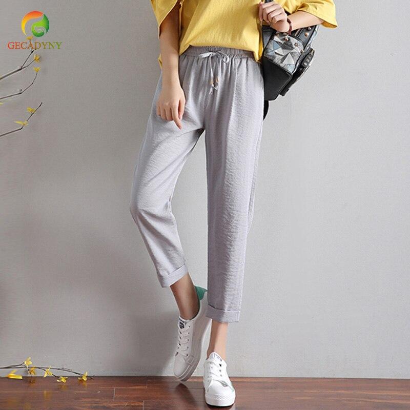 Casual Harem   Pants   Women 2018 New Loose Ice Silk Cotton Linen Trousers Elastic High Waist Vintage Female   Capris   Plus Size S-3XL