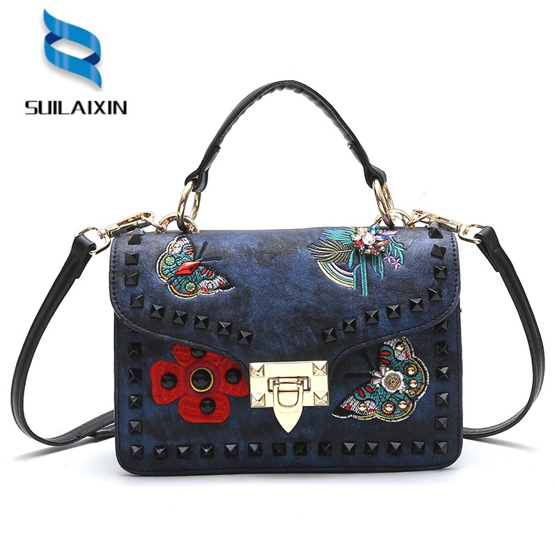 Women Embroidery Shoulder Bags Fashion Colorful Rivet Small Crossbody Messenger Bags Color Straps Wide Handbags High Quality