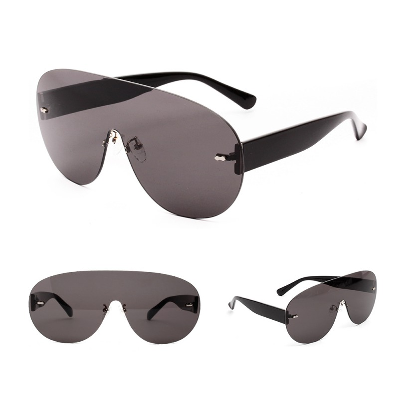 2019 Trendy Rimless Round Shape Sunglasses Mirrored Candy Color Top One Piece Sun Glasses PC Eyewear Men Women Eyeglasses in Women 39 s Sunglasses from Apparel Accessories