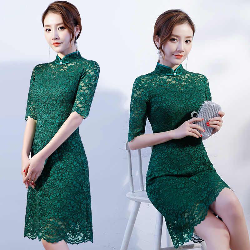 新しい到着中国女性のショートスリーブレース袍クラシック花チャイナセクシーなミニドレス夏の服s m l xl xxl xxxl