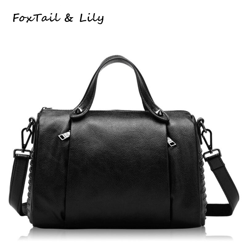 Foxtail & Lily Fashion Rivet Handbags Genuine Leather Ladies Pillow Bags Tote Shoulder Bag Women Luxury Designer Crossbody Bags luxury rivet jelly bag women bags fashion solid color shoulder bag ladies genuine leather crossbody bags summer designer