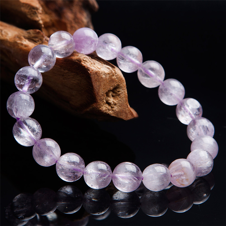 Genuine Natural Purple Kunzite Bracelets Women Lady Stretch 9.5mm Healing Gems Crystal Round Bead Bracelet AAAAAGenuine Natural Purple Kunzite Bracelets Women Lady Stretch 9.5mm Healing Gems Crystal Round Bead Bracelet AAAAA