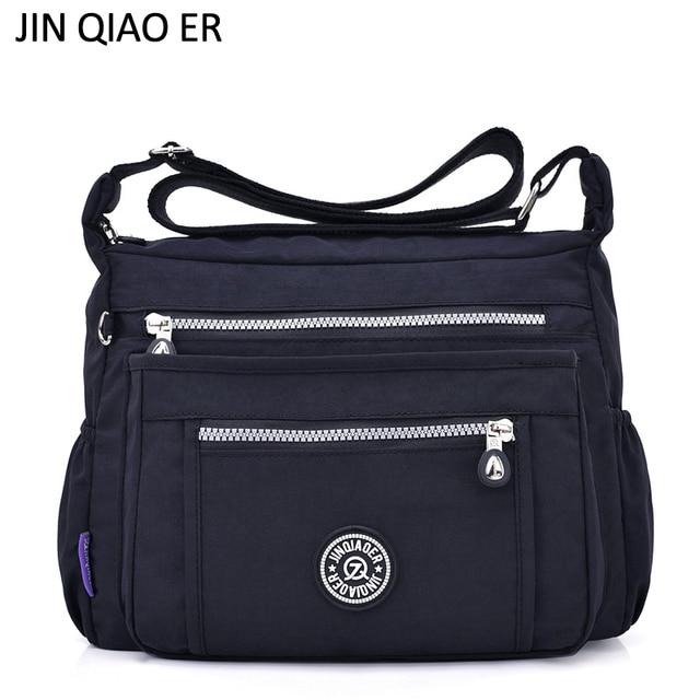 JINQIAOER Nylon Women Messenger Bags Designer Handbags Waterproof Casual Shoulder  Bags Multi-pocket Zipper Crossbody Bags Bolsas 86e62ebea6a9d