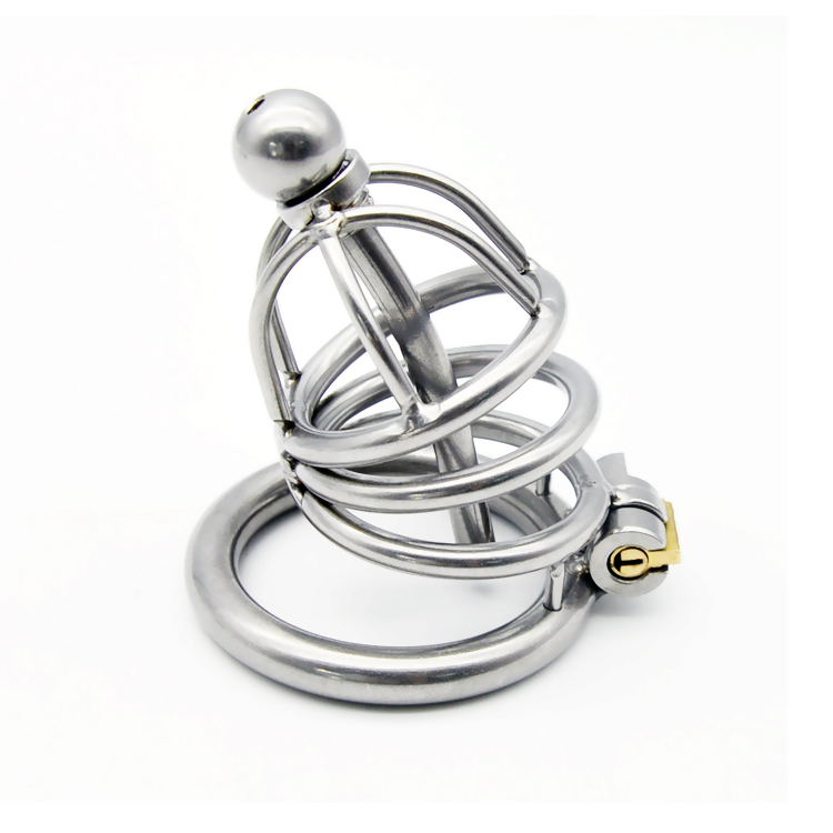 Newest lock stainless steel penis plug urethral catheter male chastity device metal cock cage for sex toys men dick ring cages