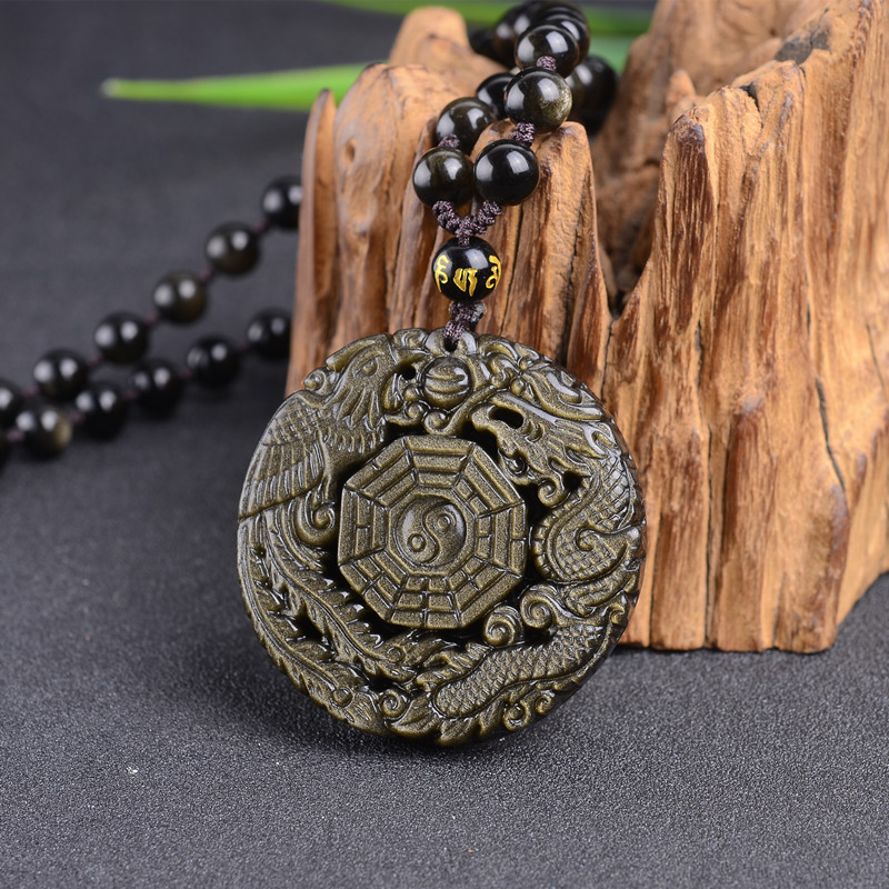 Natural Stones Golden Obsidian Bagua Pendant Necklace Obsidian Dragon Phoenix Transfer Lucky Love Crystal Jewelry Energy Gift