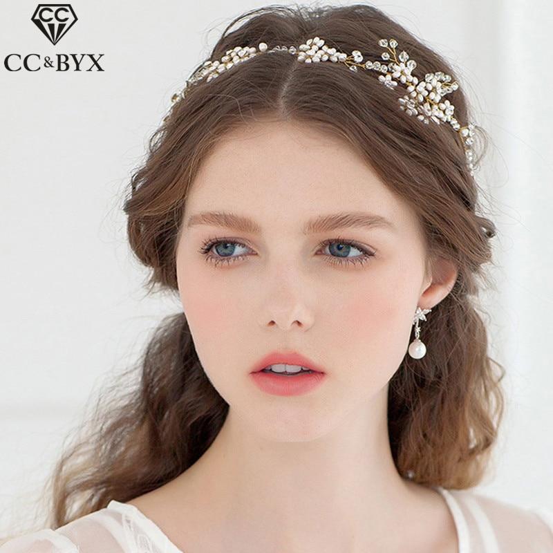 CC 188 шт. пресноводный жемчуг Оголовье Корона Hairbands свадебные аксессуары для волос  ...