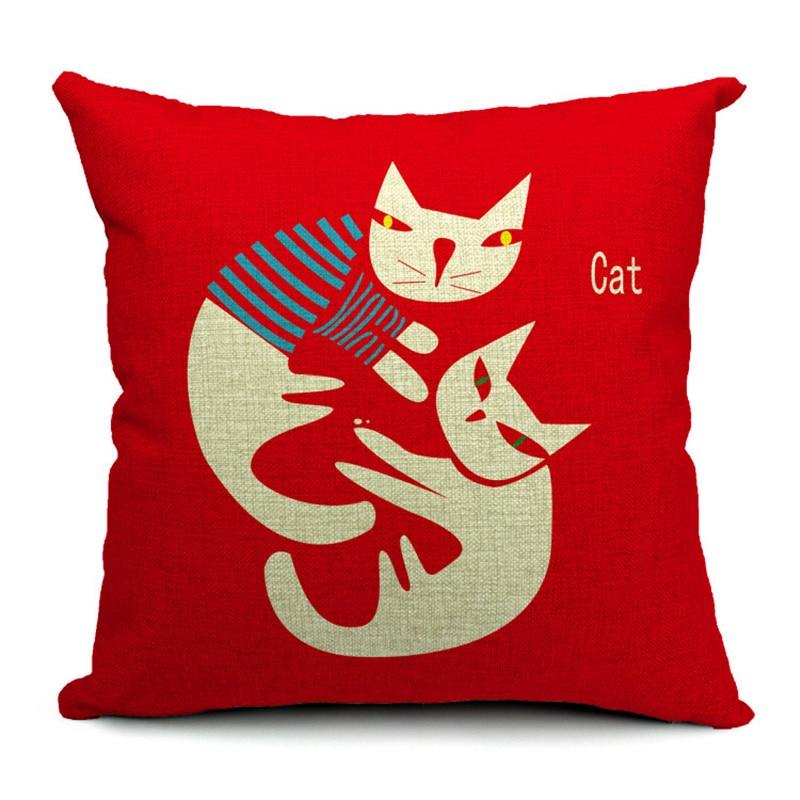 Animal Cat Creativity Cushion Pillow Fish Stripe Cloud Cover Pillow Boho Family For Living Room Dakimakura 45X45Cm Burlap Custom
