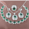 Exquisite Green Stone  Zirconia  925 Sterling Silver Jewelry Sets Necklace Pendant Earrings Rings Bracelet Free Shipping JQ018