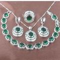 Requintado Verde Pedra Zirconia 925 Sterling Silver Jewelry Conjuntos de Colar de Pingente Brincos Anéis Pulseira Frete Grátis JQ018