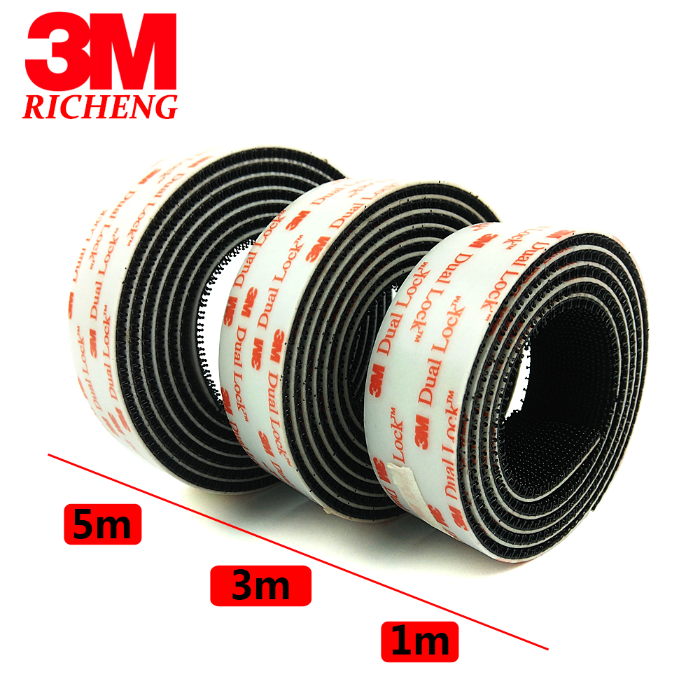 "3M  1/"" W x 5/' Dual Lock SJ3550 Type 250 VHB Black Reclosable Fastener In//Outdoor"