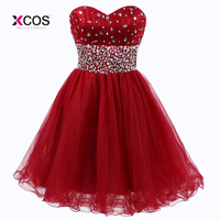 Short Junior Homecoming Dresses For Teens Rhinestone Beaded Sweetheart Tulle Semi Formal Prom Gown Graduation