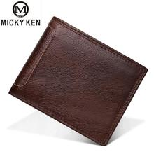 Brands Genuine Leather Men Wallets Short Coin Purse Business Card Holder New Double Zipper Cowhide Leather Wallet Purse Carteira