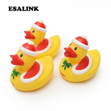3Pcs/lot Christmas Ducks kids Bath Toys Squeaky Ducky Baby Cute Rubber Children Water Playing Toy