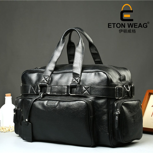 ETONWEAG Brands Cow Leather Duffle Bag Black Zipper Fashion Men Travel Bags Big Capacity Shoulder Bags Vintage Organizer Luggage 2