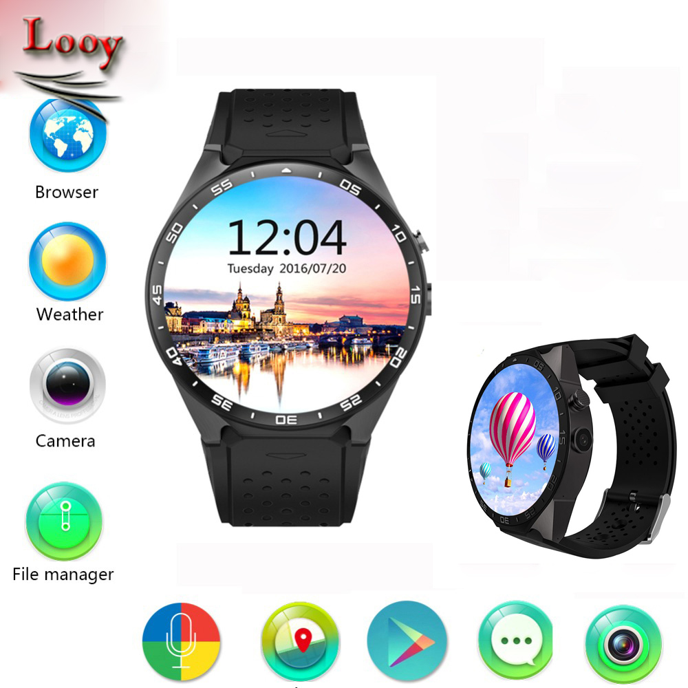 Looy KW88 3G WIFI GPS smart watch Android 5.1 OS MTK6580 CPU 1.39 inch Screen 2.0MP camera smartwatch for apple moto huawei