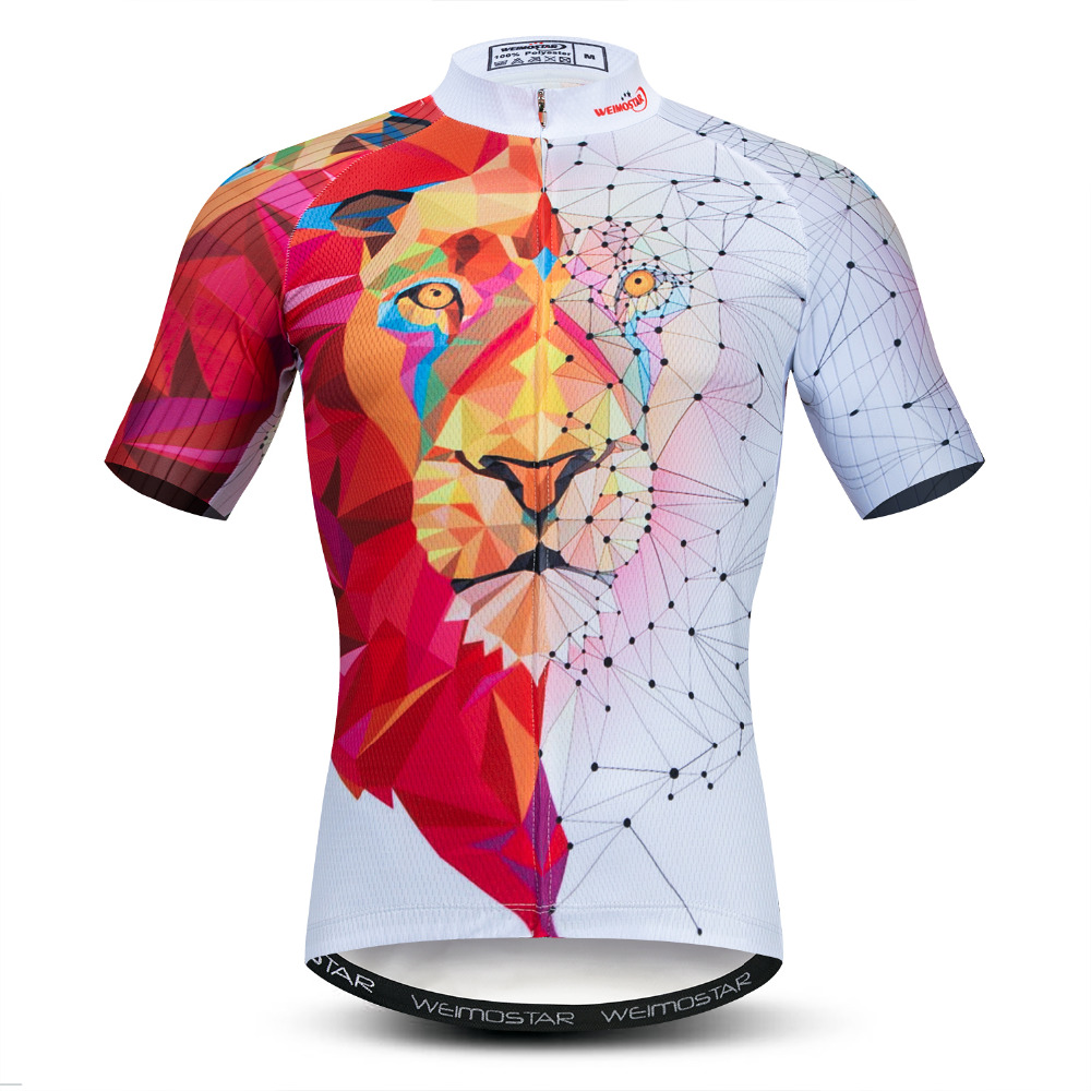 Men Cycling Jersey Motocross Short Sleeve Tops Bicycle 3D Lion MTB Downhill Shirt Road Bike Team Summer Sports Clothing Maillot