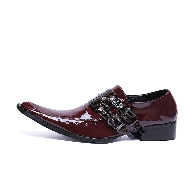 Preto Sapatos as Casamento De As Sapato Vestido Cinta Escritório Rebites Vermelho Apontou Masculino Picture Picture Social Oxford Couro Toe Fivela Homens Formal nxA4x