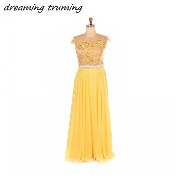 Vestido de fiesta largo amarillo