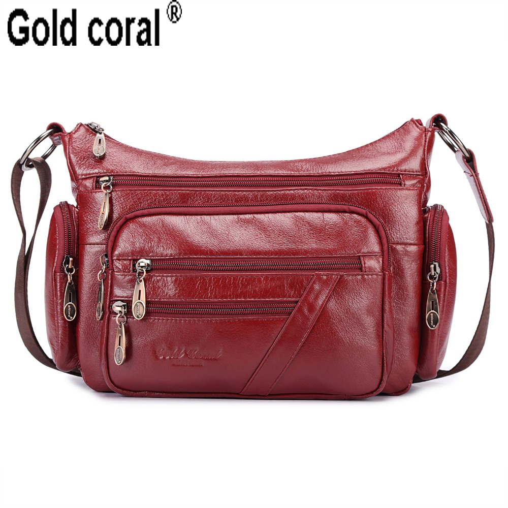 GOLD CORAL Genuine Leather Female Shoulder Bags Fashion Messenger Bags For Women Totes Crossbody Bags Ladies Handbags Sac A Main vacuum penis pump penis enlargement vibrator male erection training penis extender sex toy for men masturbator cock delay ring