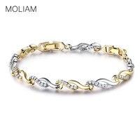MOLIAM Bracelets Bangles Famous Brand Jewelry 18K Gold Platinum Plated Crystal Zircon Twisted Hand Chain Bracelet