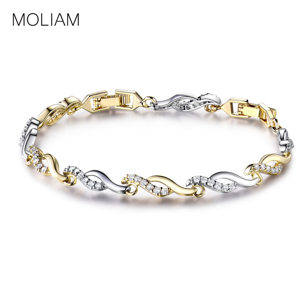 MOLIAM Bracelets Bangles Famous Brand Jewelry Gold-Color Crystal Zircon Twisted Hand Chain Bracelet 20cm MLL140 candy coloured string hand chain bracelets