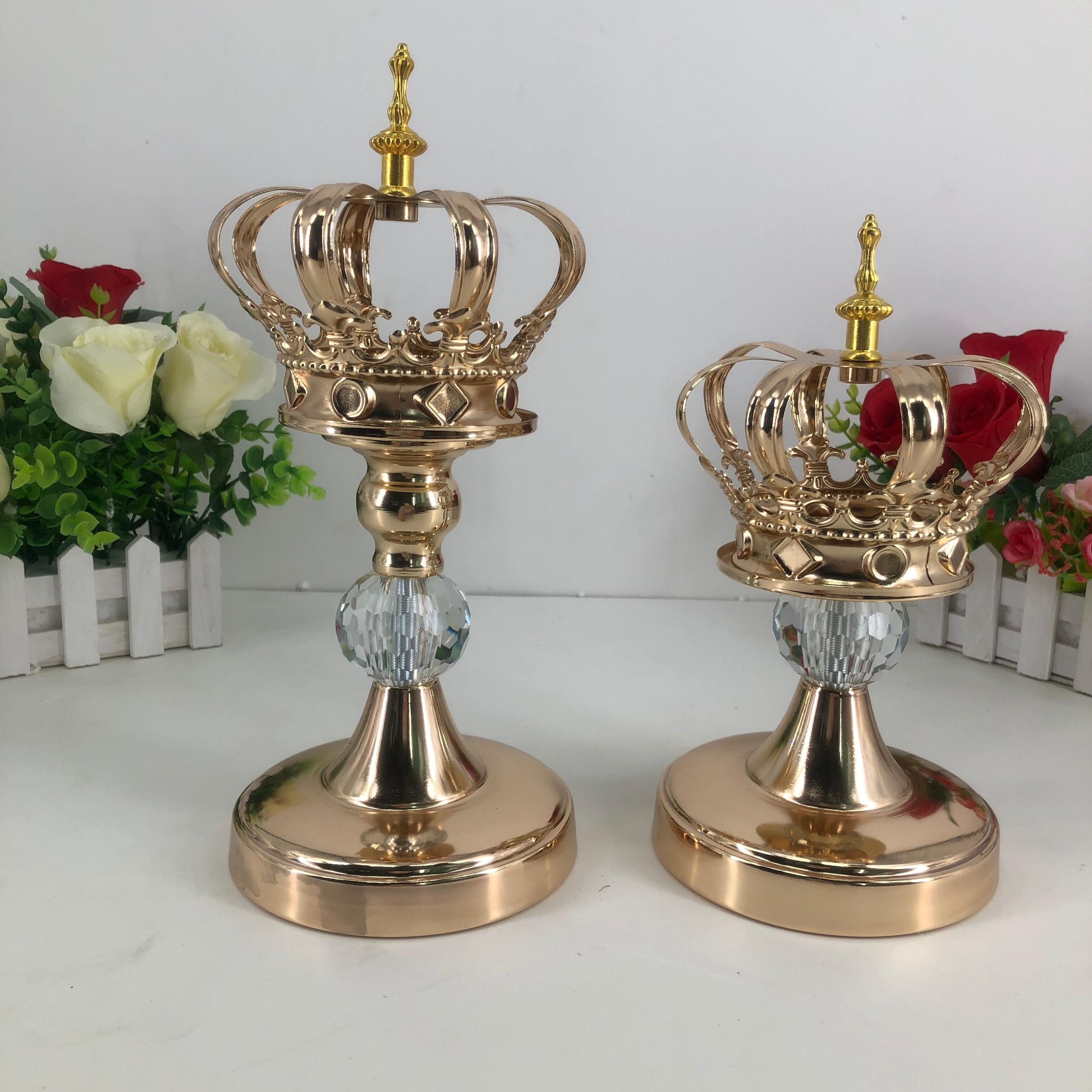 Mumluklar Altın Taç Şekli Mum Standı Moda Düğün Zarif Candelabros Masa Şamdan Parti Ev Dekorasyon