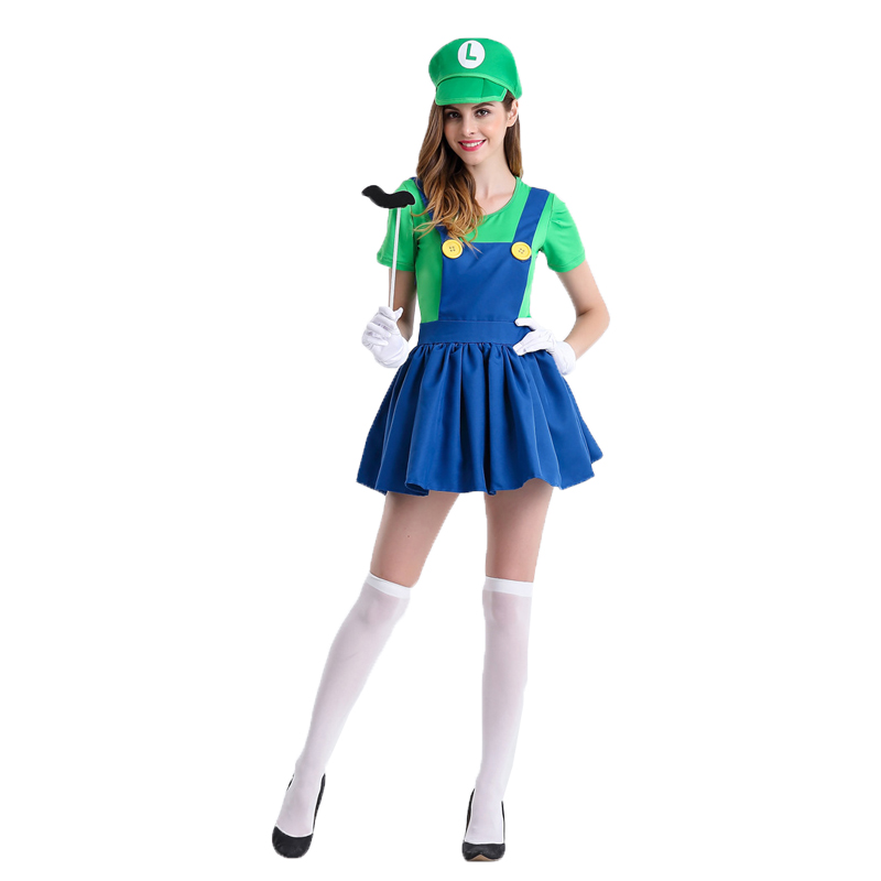 Halloween Super Mario Costume Women Luigi Costume Clothing Sexy Plumber Costume Super Mario Bros Fantasia Costumes For Adults