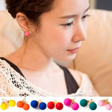 2017 Brincos Top Fashion Real Ball Trendy Brinco Earings Women Lady Charm Cute Chic Scrub Earrings Ear Studs Candy Colors(China)
