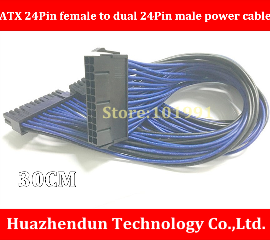 New Arrivals  ATX PSU  24PIN female to 2*24PIN male Power Extension Cable 30CM Dual motherboard synchronous start cable dhl ems free shipping 18awg 30cm atx 24pin female to 18pin male dual molex to 6pin adapter power cable for hp z600 motherboard