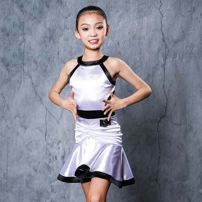 Latin Dance Dress For Girls White Sleeveless Kids Latin Dance Competition Dresses Children Salsa Rumba Cha Cha Dancewear DN3125
