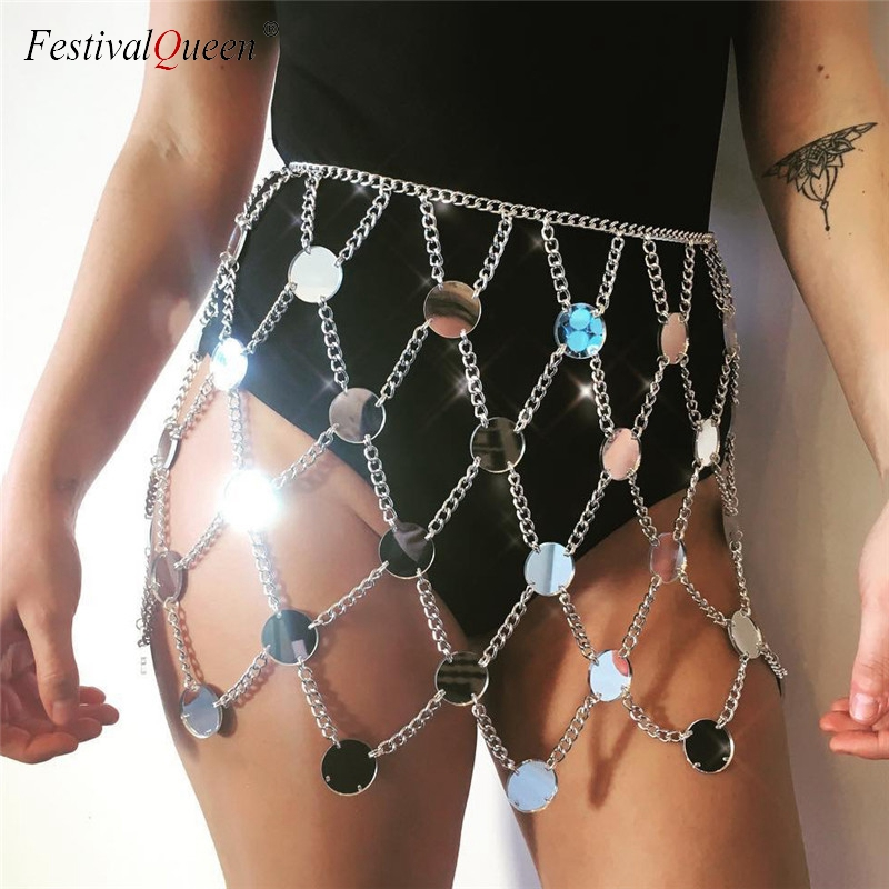 Detail Feedback Questions about FestivalQueen exotic acrylic sequin women s  metal chain skirt 2018 summer patchwork hollow out club female sparkly mini  ... 03f3e8fdaf47