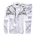 2016 Fashion Spring Mens Track Suit Casual Mens Sportswear Angel Wings Printed Tracksuit Set  Cardigan Baseball Sweatshirts 5xl