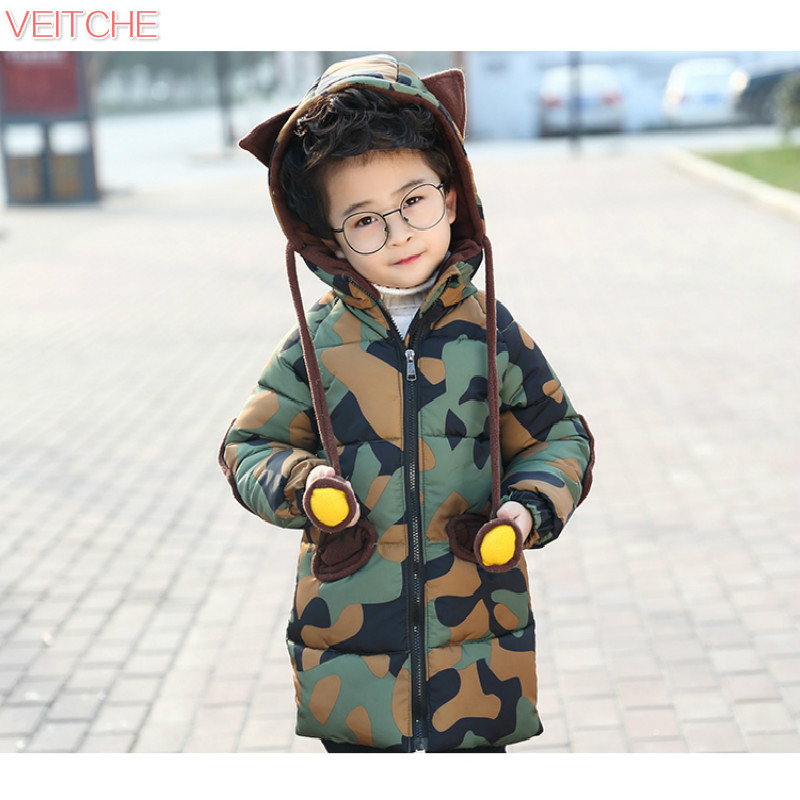 2017 children clothing 96% cotton-padded jacket winter warm thicken outerwear boys camouflage print long hooded down coat 90-130 5 14y high quality boys thick down jacket 2016 new winter children long sections warm coat clothing boys hooded down outerwear
