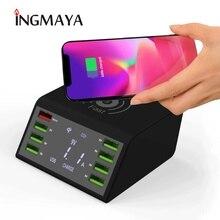 Ingmaya qi 무선 충전기 아이폰 8 x xs xr usb 빠른 충전 스테이션 60 w led 쇼 빠른 충전 3.0 화웨이 삼성 어댑터
