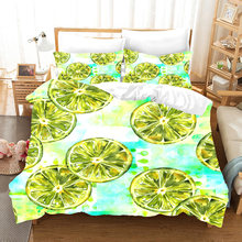 3D Print Duvet Cover Set, Lemon/flower pattern Set 3/4pcs Bedspreads Boy Girl Teens kid bedlinens(China)