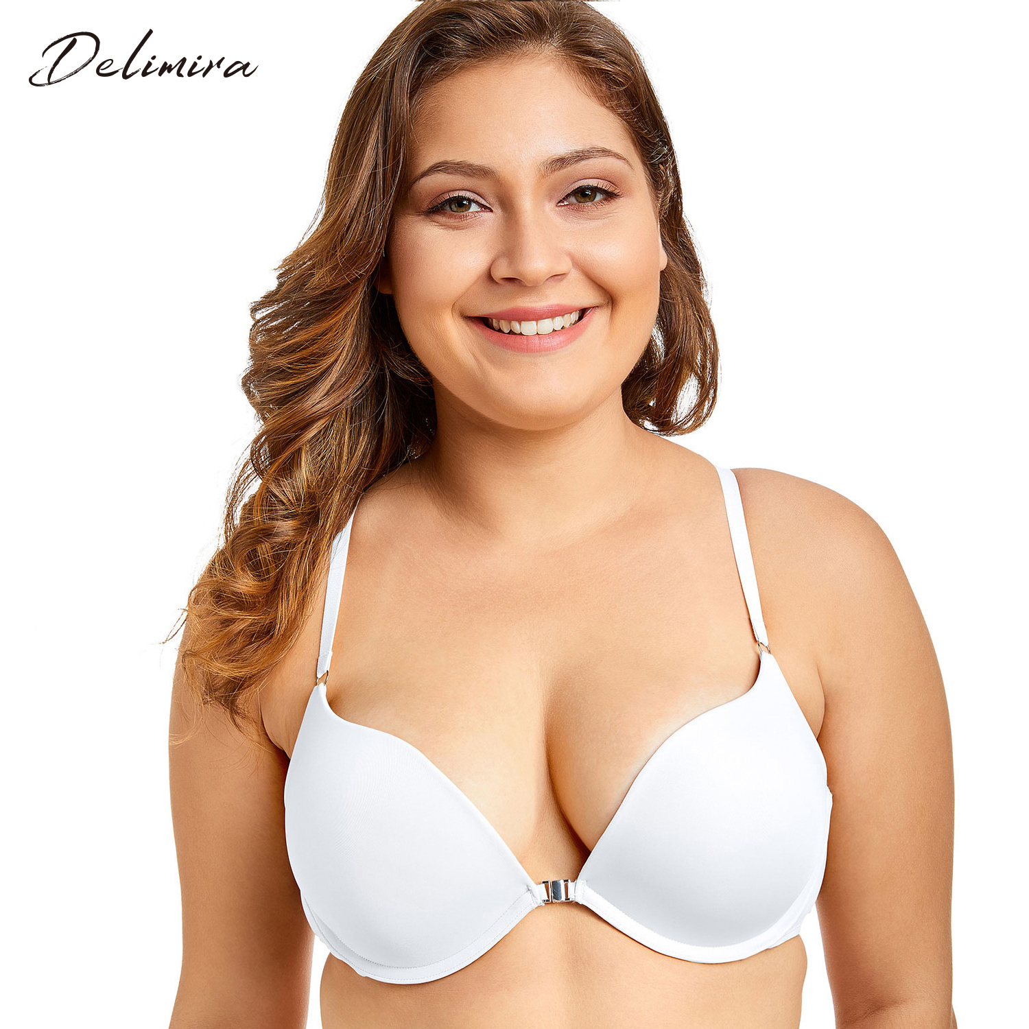 2daa3625e2e8c Delimira Women Sexy Front Closure Padded Push Up X-back Plunge Bra with  Underwire