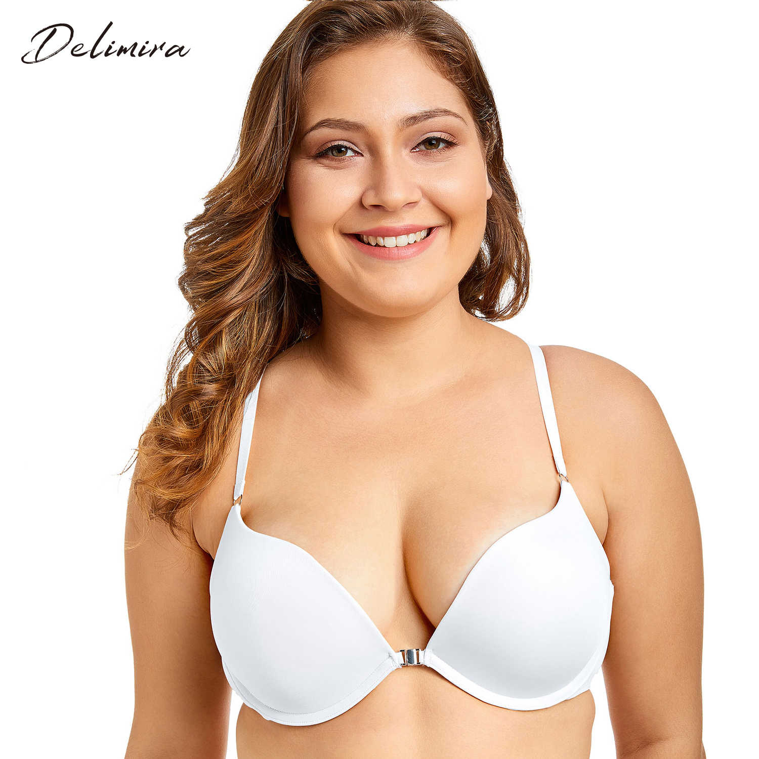 Delimira Women Sexy Front Closure Padded Push Up X-back Plunge Bra with Underwire