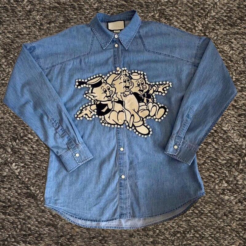 Svoryxiu Spring Summer Runway Casual Denim   Blouse     Shirt   Women's Tops Fashion Cartoon Piggy Embroidery Loose Denim   Blouses     Shirts