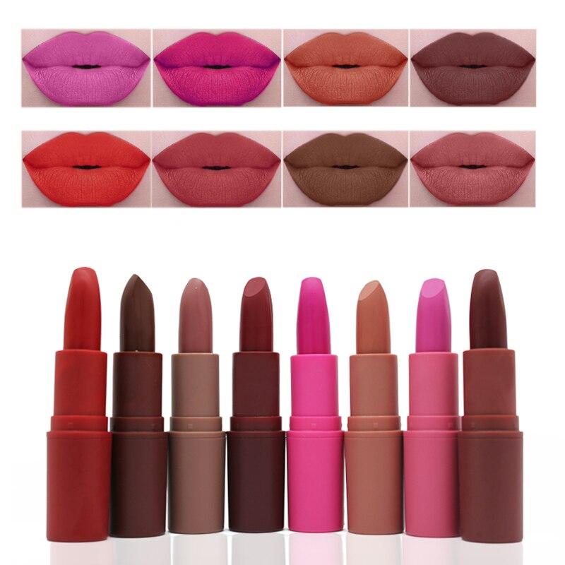 Beauty Essentials Beauty & Health New Matte Lipstick 8 Colors Nude Lipstick Long Lasting Waterproof Vampire Brown Beauty Red Baby Lips Batom Matte Makeup Lipstick