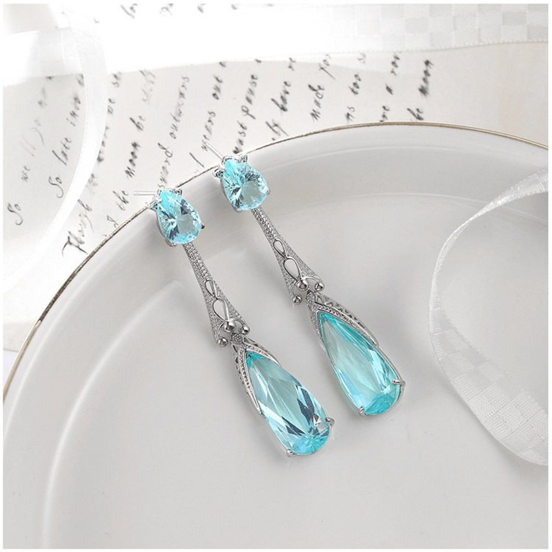 Retro Boho Style Turquoise Long Ethnic Party For Women Ear Hook Drop Earrings LH
