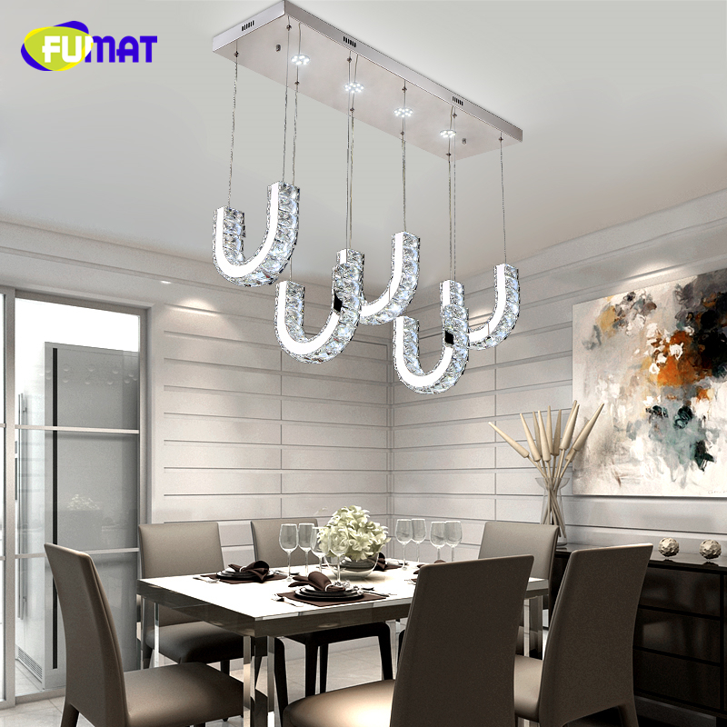 FUMAT K9 křišťálový přívěsek lampa z nerezové oceli LED světla pro jídelny Lustres De Teto svítidla křišťálový přívěsek světla