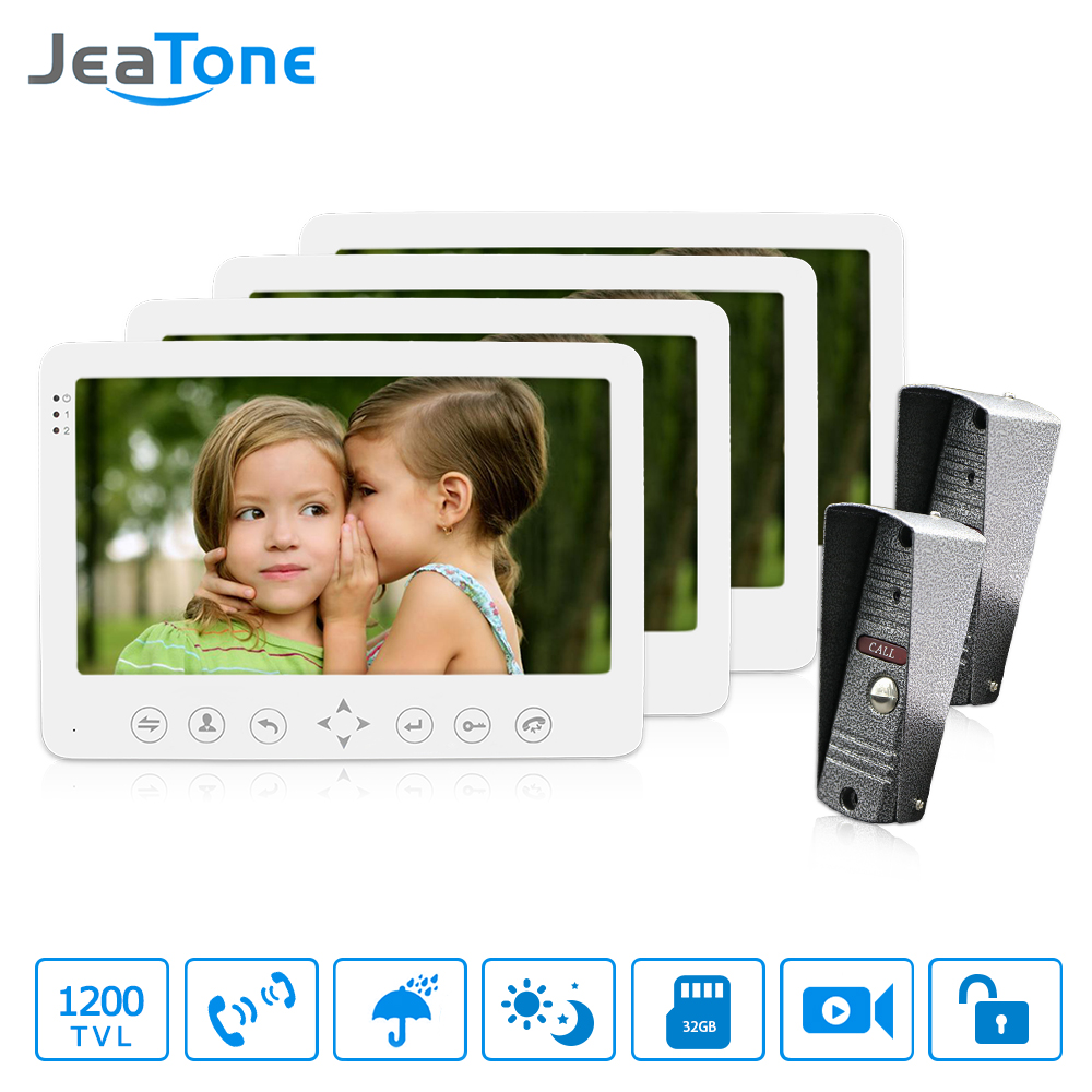 JeaTone Wired Video doorbell 7 inch HD doorphone Video Intercom With Waterproof Outdoor IR Night Camera home Security Kit 7 inch video doorbell tft lcd hd screen wired video doorphone for villa one monitor with one metal outdoor unit rfid card panel