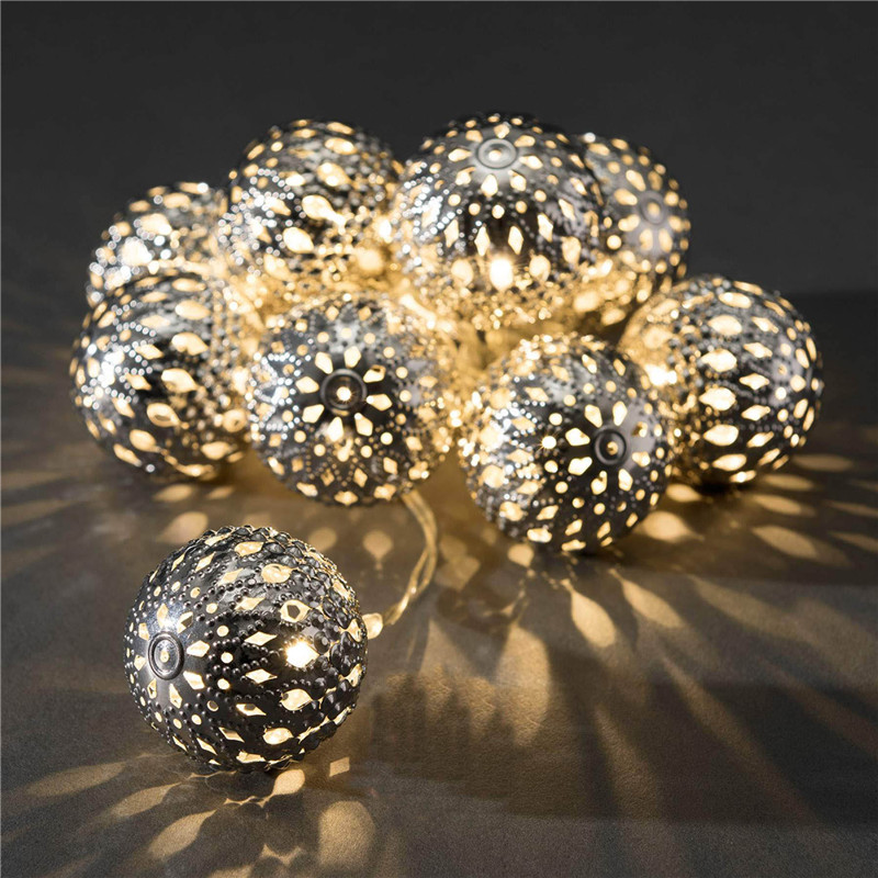Decoration String Light LED 4m 20LED Warm White On/Blink Iron Ball Bulbs Lamp For Ideal Wedding Christmas Tree Party Halloween