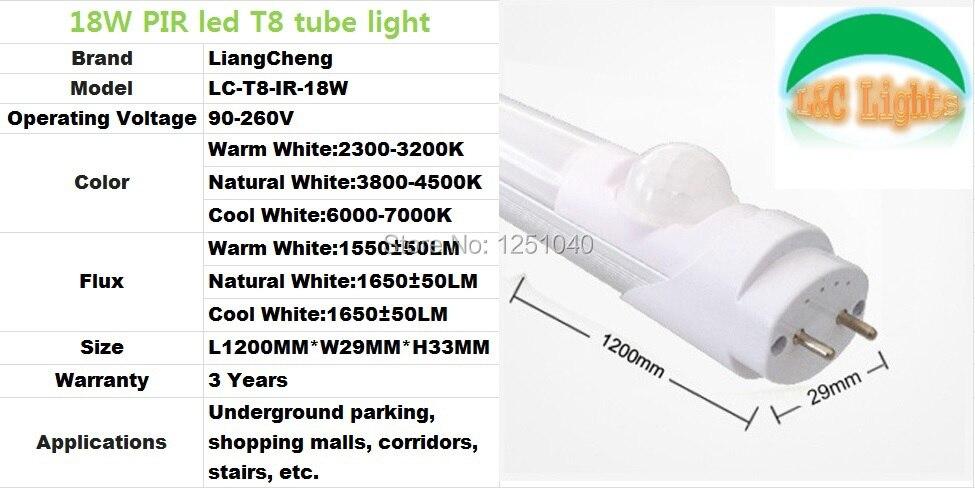 18w Parking Lighting Ir Sensor Led Tube Replace The 40w