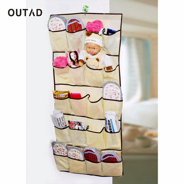 OUTAD 1 Pcs 20 Pockets Over Door Cloth Shoe Organizer Hanging Hanger Closet  Space Storage Hot