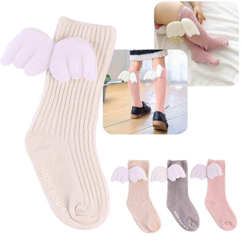 Cute Newborn Baby Kids Girl Boy Cotton Angels Wing Lovely Stockings Knee High Warmer Winter Baby Stockings
